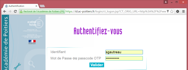 Page d'authentification Intranet